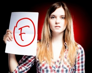 Photo credit: Failed test or exam and disappointed woman // ShutterStock