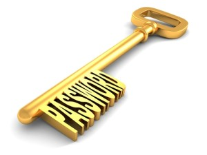 Golden key with password // ShutterStock