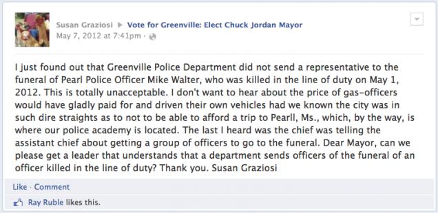Police Officer's Facebook Post Criticizing Her Boss Isn't Protected Speech--Graziosi v. Greenville