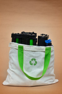 Photo credit: Used laser printer toner in a recycle bag // ShutterStock