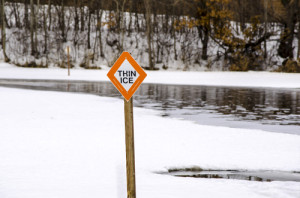 Photo credit: Thin Ice Sign // ShutterStock