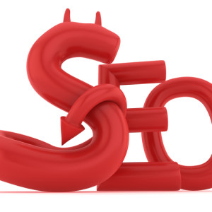 SEO spam is the devil's work. Photo credit: The word SEO with devil S // ShutterStock