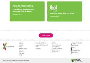 23andMe.com Home Page Footer (several screens down from the top). Screen shot taken July 1, 2014