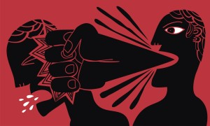 """shutterstock / complot - """"a man strikes to another one with a fist that leaves its mouth"""""""
