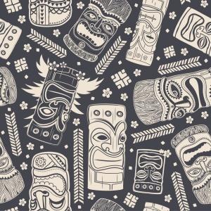 vintage aloha tiki pattern for your business