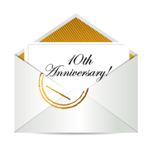 Photo credit: Happy 10th Anniversary gold mail letter illustration design over white // ShutterStock