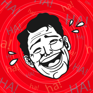 shutterstock / durantelallera: Vintage Retro Clipart : Lol, Man Laughing Out Loud