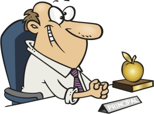 shutterstock / Leishman - cartoon man principal sitting at his desk with a golden apple