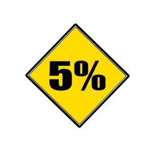"Photo credit: ""5 percent black stamp text on yellow"" // ShutterStock"