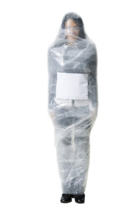 Photo credit: Woman wrapped in bubble wrap // ShutterStock