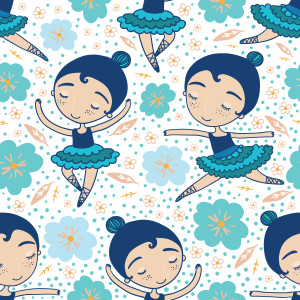 Shutterstock / Apolinarias: Dance class blue seamless pattern. Raster version.
