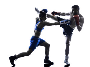 "Unfortunately, they were referring to a different sport of the future. Photo credit: ""one woman boxer boxing one man kickboxing in silhouette isolated on white background"" // ShutterStock"