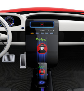 "Photo credit: ""Car center console and smart phone display hacker icon"" // ShutterStock"