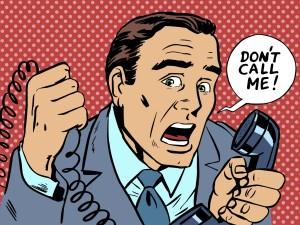 do not call me male phone stress. The subscriber spam work // studiostoks / shutterstock
