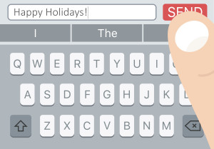 "Milo Dubas/Shutterstock ""Happy Holidays SMS message on mobile phone with keyboard and man finger over Send button."""