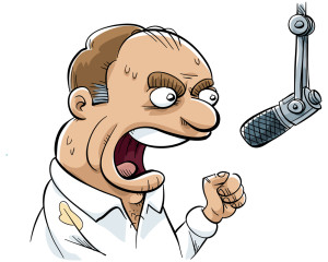 shutterstock/blambca - an angry radio dj rants into his microphone