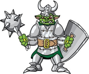 Illustration of an evil goblin in armor and a horned helmet, a shield in his left hand and mace in his right hand>Shutterstock/machinegunner - illustration of an evil goblin in armor and a horned helmet, a shield in his left hand and mace in his right hand